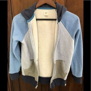 Gray, light blue, navy hooded sweatshirt full zip